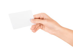 Hand holding blank business card. Isolated on white Royalty Free Stock Image