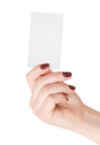 Hand holding blank business card Royalty Free Stock Photography
