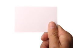 Hand holding blank business card Stock Photos