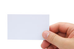 Hand holding a blank business card Stock Photos