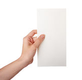 Hand holding a blank business card  isolated Royalty Free Stock Photos