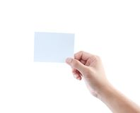 Hand holding blank business card. Isolated on white background Stock Image