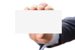 Hand holding blank card Royalty Free Stock Photo