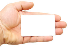 Hand holding blank card Royalty Free Stock Image