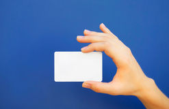 Hand holding a blank card Royalty Free Stock Image
