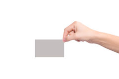 Hand holding a blank card Stock Photo