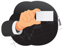 Hand is holding blank card Stock Photography