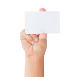 Hand holding blank card isolated clipping path Royalty Free Stock Photo