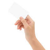 Hand holding blank card isolated with clipping path Royalty Free Stock Photo