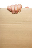 Hand holding blank cardboard Royalty Free Stock Photos