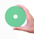 Hand holding blank cd dvd disk Stock Images