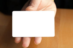 Hand Holding Blank Credit Card Stock Images