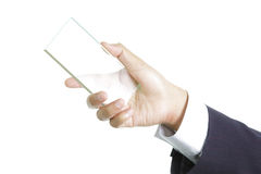 Hand holding blank glass Royalty Free Stock Image