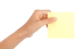 Hand holding a blank note Royalty Free Stock Photos