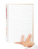 Hand holding blank notebook Royalty Free Stock Photography