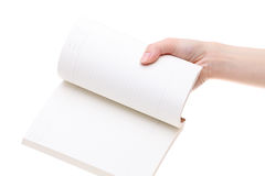Hand holding blank notebook Royalty Free Stock Images