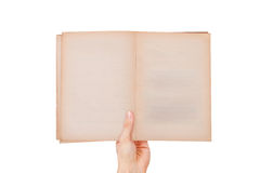 Hand Holding Blank Old Open Book Royalty Free Stock Photos