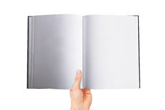 Hand Holding Blank Open Book Stock Photos