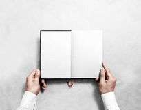 Hand holding blank opened book mock up white half title. Stock Image
