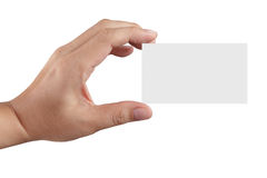 Hand holding blank paper business card Stock Photos