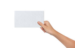 Hand Holding a Blank paper Royalty Free Stock Image