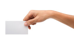 Hand holding blank paper Royalty Free Stock Photo
