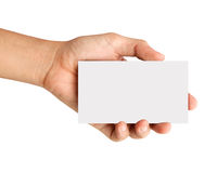 Hand holding blank paper Isolated on white Royalty Free Stock Photos