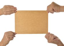 Hand holding blank paper Royalty Free Stock Images