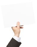 Hand holding blank paper Royalty Free Stock Image