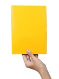Hand holding a blank paper yellow. Female hand holding a blank paper yellow isolated on white background Royalty Free Stock Image