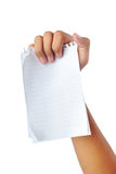 Hand holding blank papers Stock Images
