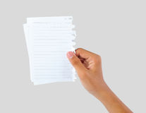 Hand holding blank papers Royalty Free Stock Image