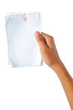 Hand holding blank papers Royalty Free Stock Photography