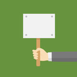 Hand Holding A Blank Placard. Placard Board in Flat Style, Man Holding A Blank Placard Board Royalty Free Stock Photo