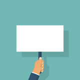 Hand holding blank placard. Royalty Free Stock Photo