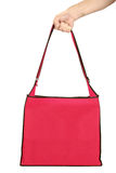 Hand Holding Blank Red Bag Revised Royalty Free Stock Image
