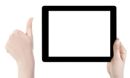 Hand Holding blank screen Digital Tablet. Isolated Stock Photo