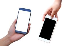 Hand holding blank smart phone on white background royalty free stock images