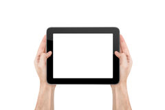 Hand Holding Blank Tablet. Hand holding blank empty white tablet, isolated on white background Stock Images