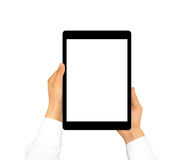 Hand holding blank tablet mock up isolated. New portable pc scre Royalty Free Stock Photo