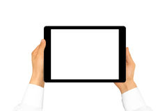 Hand holding blank tablet mock up isolated. New portable pc scre. En presentation. Empty display device mockup. Space touchscreen gadget hold in hands. Tab hd Stock Photo