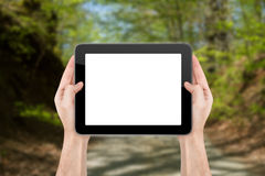 Hand Holding Blank Tablet on Natural. Hand holding blank empty white tablet on natural background Stock Image