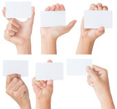 Hand holding blank white card isolated with clipping path Stock Photography