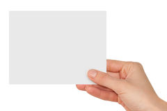 Hand holding a blank white card Royalty Free Stock Photography