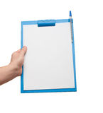 Hand holding a clipboard with blank sheet of paper. Hand holding a blue clipboard with blank sheet of paper isolated on white Royalty Free Stock Photos