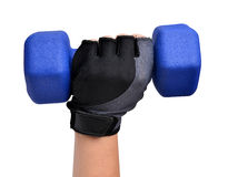 Hand holding blue fitness dumbbell Royalty Free Stock Photography