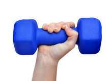 Hand holding blue fitness dumbbell Stock Photography