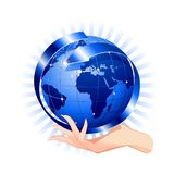 Hand Holding a Blue Globe-Social Network Concept Stock Images