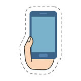 Hand holding blue smartphone device-cut line Stock Photos