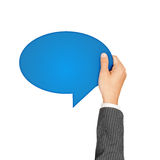Hand Holding Blue Speech Bubbles Royalty Free Stock Photos